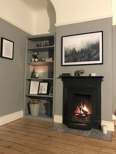 Living room alcove shelves  Dulux warm pewter  Edwardian terrace Paint Colors For Living Room, Living Room Grey, Living Room Modern, Living Room Decor, Dining Room, Dining Table, Alcove Ideas Living Room, Living Room Shelves, Room Ideas
