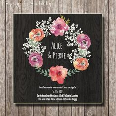 Hand-painted flower and baby breath crown wedding invitation - Rustic watercolor green wedding invitation (printable version available)