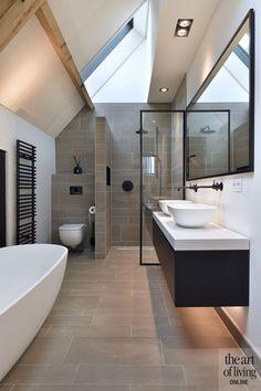 How to Finish Your Basement and Basement Remodeling – House Remodel HQ Modern Bathroom Tile, Rustic Bathroom Vanities, Bathroom Interior Design, Small Bathroom, Classic Bathroom, Rustic Bathroom Shelves, Dream Bathrooms, Beautiful Bathrooms, Ideas Baños