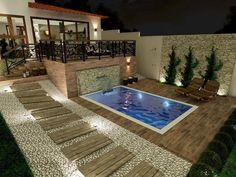 Backyard Pool Designs, Small Backyard Pools, Swimming Pool Designs, Swimming Pools, Tropical House Design, Best Modern House Design, Small Pool Design, Outdoor Garden Rooms, Outdoor Pergola