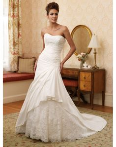 The Satin Sweetheart A-line Royal Train Lace Wedding Dress Sale at Best Canada Shop