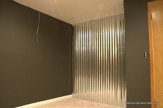 Metal interior walls how to install a corrugated metal accent wall industrial basement design corrugated metal Industrial Basement, Corrugated Tin, Tin Walls, Basement Remodeling, Remodeling Ideas, Lofts, Pottery Barn, New Homes, Room Decor