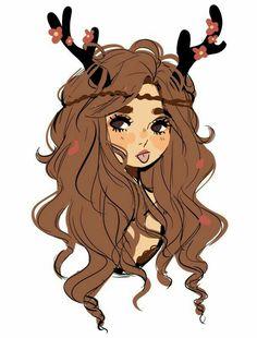 raindeer girl art art girls, drawings and characters Pretty Art, Cute Art, Art Pastel, Posca Art, Dibujos Cute, People Art, Character Drawing, Character Design Inspiration, Cool Drawings
