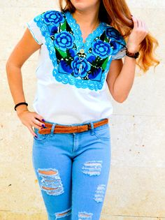 SALE Blue Hand Embroidered White Blouse / Mexican Colored