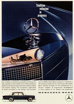 Mercedes-Benz Vintage Ad: This advertisement in English from 1961 (Atelier Harry Preußner) highlights the new approach adopted at the beginning of the 1960s.