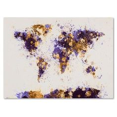 Trademark Art 'Paint Splashes World Map 4' by Michael Tompsett Framed Painting Print on Wrapped Canvas Size: