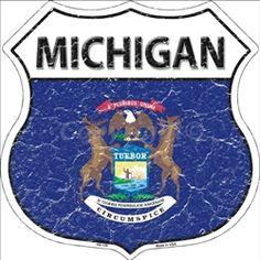 HS-130 Michigan State Flag Highway Shield Aluminum Metal Sign