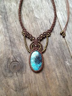 Micro macrame necklace Custom order with big tibetan turquoise cabochon boho jewelry micro-macrame necklace tribal
