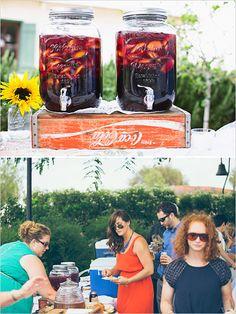 mason jar drink station http://www.weddingchicks.com/2013/10/10/casual-temecula-wedding/