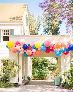 colorful wedding balloon arch