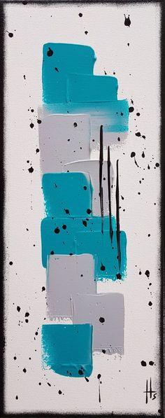 tableau abstrait peinture contemporain vertical - Peinture,  50x20x1,7 cm ©2017 par Sandrine Hartmann -            vertical, turquoise, peinture, abstrait, unique, fait main, art, france, original, bleu