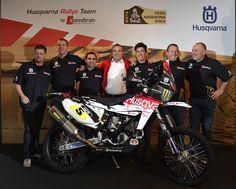 Wolfgang Fischer (Team Manager), Matt Fish (Pilot), Paulo Gonçalves (Pilot), Klaus Allisat (President Husqvarna Motorcycles), Joan Barreda (Pilot), Alessandro Botturi (Pilot), Berthold Hauser (Project Responsible)