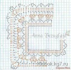 Схема для вязания крючком квадратной кокетки летней кофточки.