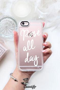 "Bridesmaid gift idea - personalized ""Rosé all day"" phone case {Courtesy of Casetify}"