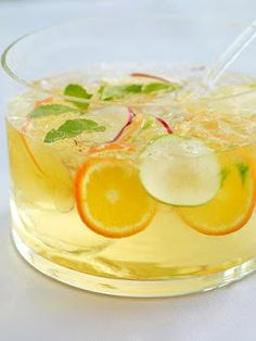 refreshing white sangria ingredients:  - 1 bottle of white wine (i like to use riesling)  - a couple shots of citrus vodka  - 2 peaches, peeled, pitted and sliced  - 1 asian pear, sliced  - 2 oranges, 1 cut into wedges, 1 sliced  - 2 lemons, 1 cut into wedges, 1 sliced  - 2 cups of ginger ale  - sugar to taste