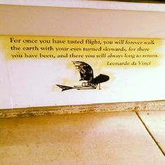 """""""For once you've tested flight, you'll forever walk the earth with your eyes turned skywards, for there you've been and there you'll always long to return"""" - Leonardo Da Vinci"""