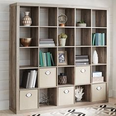Better Homes and Gardens 25 Cube Organizer Room Divider, Rustic Gray Image 1 of 1 Bookcase Storage, Room Organization, Wall Storage, Large Storage Baskets, Storage Baskets, Wall Storage Unit, Room Divider, Cube Organizer, Craft Room