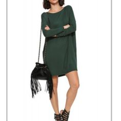 ⚡️Dark Green Long Sleeve Dress ⚡️ Dark Green Dress in M.   Fabric very stretchy.   Length: short .   Round neck.     Ask question.     No PP/ Trades.  Reasonable  offers are accepted!     Dresses Long Sleeve