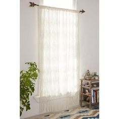 Plum & Bow Pieced Crochet Curtain ($129) ❤ liked on Polyvore featuring home, home decor, window treatments, curtains, cream, beige sheer curtains, sheer drapery panels, sheer cotton curtains, crochet curtains and beige sheer curtain panels