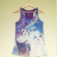 Cute cats astonished by rainbow tank Seriously so cute! I have one in every size! Small medium and large:) this listing is for ONE SMALL. Super soft. ️price fairly firm. Just look at that cat so astonished Tops Tank Tops