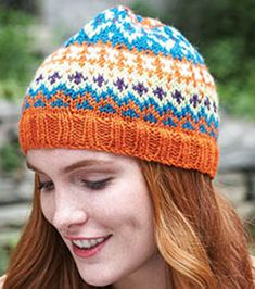 Crazy for Color Cap (Knit) Fair Isle design worked on double pointed needles. When you're ready for more of a challenge. PDF download.