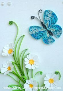 Quilled butterfly and daisies  .... paper art