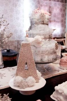 Pink and Silver Winter Wonderland Baby Shower for Girl #pink #winter #sparkles #DIY by lelia