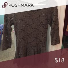 Brown peplum top Tea n rose brand!! Lace. Perfect condition. Tops Blouses