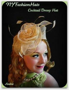 A retro look to wear to complete the wedding look. Natural linen straw hairband from nyfashionhats.com