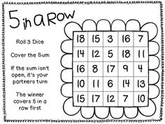 dice addition games...free!
