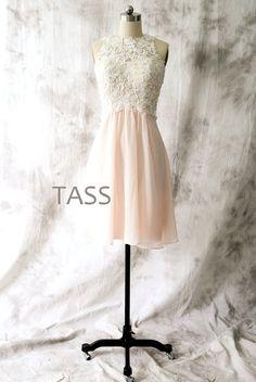 Peach Chiffon Short Bridesmaid dress Wedding dress by TaShasha