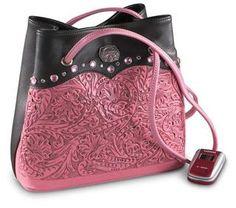 Tooled leather pink handbag