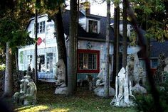 """The """"Witch's House"""" on Beach Rd. in Fox Point (northern Milwaukee suburb) is legendary for the artist Mary Nohl whose sculptural art environment and reclusiveness spun mysterious stories. http://milwaukee.about.com/od/artsentertainment/ss/Mary-Nohl-House.htm#"""