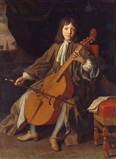 An extremely rare painting of an English bass viola da gamba, ca. 1680