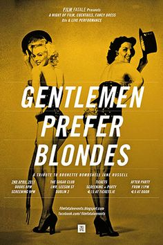 Marilyn Monroe movie poster for the film Gentlemen Prefer Blondes, starring Jane Russell . Marilyn Monroe Movies, Jane Russell, Gentlemen Prefer Blondes, Free Yoga, Norma Jeane, Advertising Poster, Old Movies, Film Posters, Film Movie