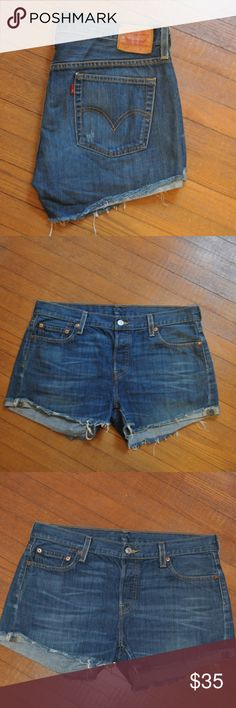 Levi's Original Riveted 501 XX Denim Shorts 12-14 Excellent used condition! Can be rolled or cuffed. Button closure in place of zipper. Fits a size 12-14. Waist 35 in Inseam 3 in  Rise 9.5 in Offers are welcome and bundling is encouraged. Lots of other items listed in my closet. Levi's Shorts Jean Shorts