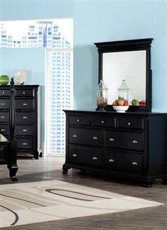 CANTERBURY Black Wood Glass Dresser