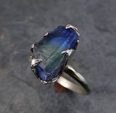 Raw Tanzanite Crystal White Gold Ring Rough Uncut by byAngeline