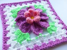Flower in granny square (3)  I really like this. Of the hundreds of things my late mother made for me I never asked for a granny square afghan - why ever not?  I just don't know.