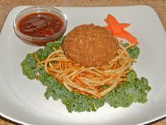 Shawna's Food and Recipe Blog: Scotch Egg on a Nest of Shoestring Chips with Fire Roasted Tomato Mint Compote