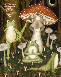 Mushroom Forest Yoga Clear Acrylic Box by Annyamarttinen - 4 X 4 X 3 Collage Art, Collages, Frog Art, Mushroom Art, Photocollage, Hippie Art, Aesthetic Art, Cute Art, Art Inspo