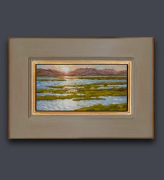 """Early morning light on the lagoon. Del Mar Lagoon near Torrey Pines State Park. Oil on canvas, 4""""x8"""" framed and ready to hang. Jim@JimMcConlogue for more information www.JimMcConlogue.com for purchase of this and many others. Torrey Pines, Surf Art, Beach Scenes, Morning Light, Limited Edition Prints, Early Morning, Art Oil, Art For Sale, State Parks"""