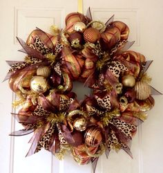 SALE: Whimsical, Deco Mesh, Extra Large Fall Christmas Holiday Decoration Wreath in Gold, Brown, Copper and Leopard Animal Print by SouthernDoorArt on Etsy Thanksgiving Mesh Wreath, Christmas Mesh Wreaths, Christmas Swags, Christmas Holidays, Christmas Crafts, Christmas Decorations, Holiday Decor, Winter Wreaths, Christmas Centerpieces
