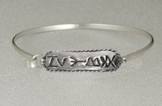 Sterling Silver Rune Script Bracelet...Strengthen Relationship...In a Comfortable Strap Style Silver Dragon-Bracelets. $52.00