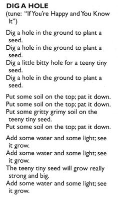 Songs about plants (altho I hate Piggyback songs!):                                                                                                                                                                                 More