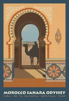 Moroccan Travel Poster on Behance Moroccan Travel Poster on Behance Poster On, Poster Prints, Camelus, Moroccan Art, Tourism Poster, Arabic Art, Travel Illustration, Vintage Travel Posters, Vintage Postcards