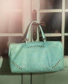 MIELE maxi bag by TOSCA BLU #bag #green #acquamarine #ss2013 #door #studs