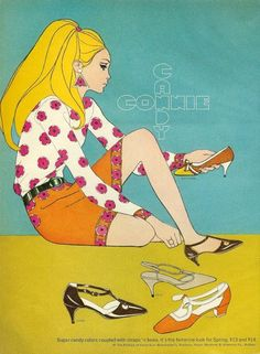 Fashion illustration in Mademoiselle, February 1967. (♥)