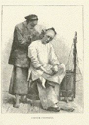 """""""Chinese Physician"""" ( Performing Acupuncture ) Wood engraving ca 1880."""
