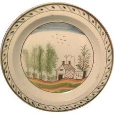 Antique 18th century English Creamware Polychomre Decorated Plate from classictradition on Ruby Lane